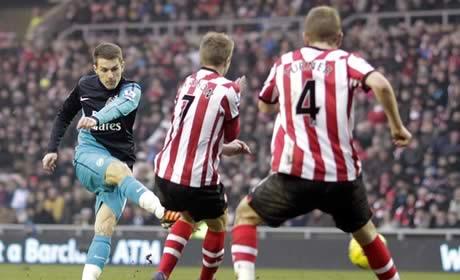 Aaron Ramsey scores against Sunderland