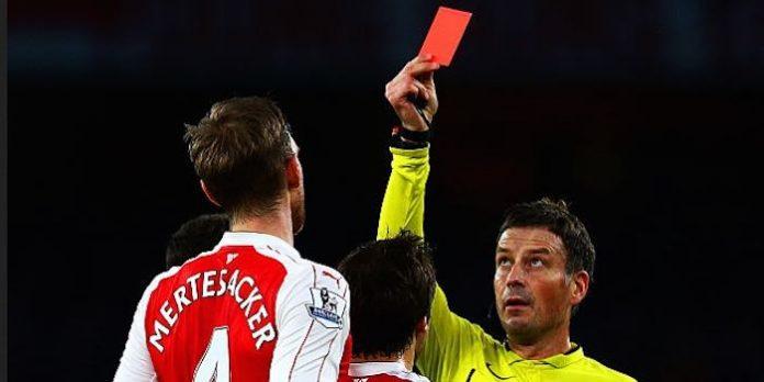 Mertesacker red card Chelsea