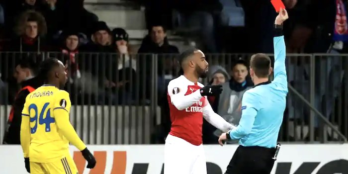 Lacazette apologises for red card as Emery says he must control his frustrations