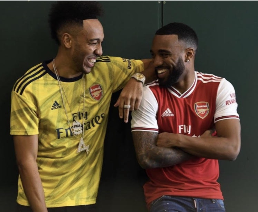 aeb33ecd8 Picture! Aubameyang and Lacazette model next season s Adidas kits ...